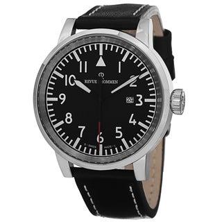 Revue Thommen Men's 16053. 1537 'Air Speed' Black Dial Black Leather Strap Quartz Watch
