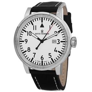Revue Thommen Men's 16053. 1532 'Air Speed' White Dial Black Leather Strap Quartz Watch