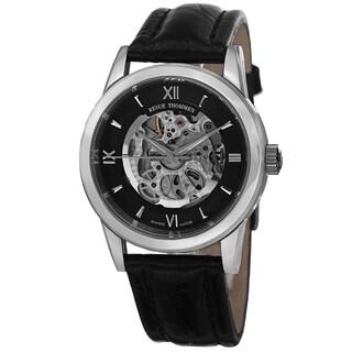 Revue Thommen Men's 12110.2537 'Skeleton' Black Open Dial Black Leather Strap Automatic Watch
