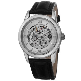 Revue Thommen Men's 12110.2532 'Skeleton' Silver Open Dial Black Leather Strap Automatic Watch