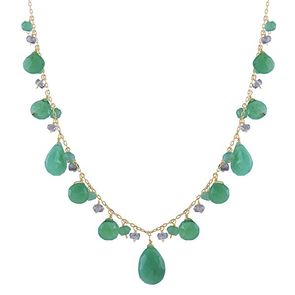 14k Yellow Gold Green Cubic Zirconia and Blue Chrysoprase Necklace