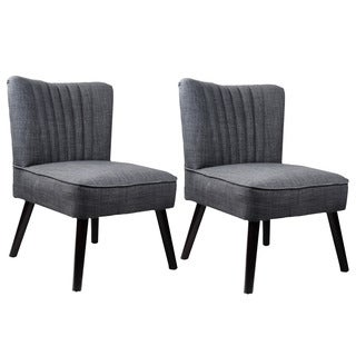 CorLiving Antonio Accent Chair in Woven Grey (Set of 2)