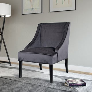 CorLiving Antonio Accent Chair in Dark Grey Velvet