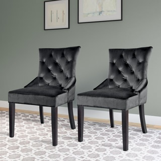 CorLiving Antonio Accent Chair in Soft Grey Velvet (Set of 2)