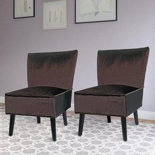 CorLiving Antonio Lounge Chair in Deep Brown Velvet (Set of 2)