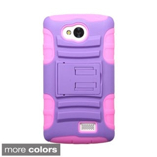 INSTEN Dual Layer Hybrid Stand Rubberized Hard Plastic PC/ Silicone Phone Case Cover For LG Tribute