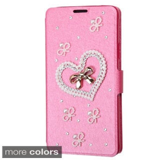 INSTEN Design 3D Folio Flip Leather Stand Wallet Phone Case Cover With Diamond For Samsung Galaxy Note 4