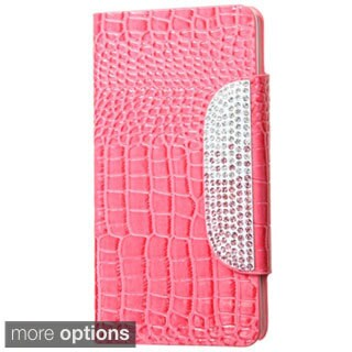 INSTEN Crocodile Folio Flip Leather Stand Wallet Phone Case Cover With Diamond For Samsung Galaxy Note 4