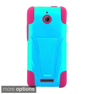 INSTEN Dual Layer Hybrid Stand Rubberized Hard Plastic PC/ Silicone Phone Case Cover For HTC Desire 510