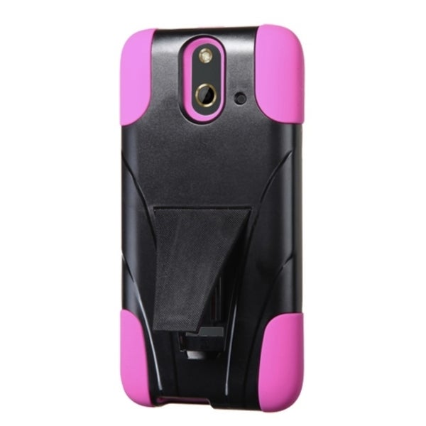 INSTEN Dual Layer Hybrid Stand Rubberized Hard Plastic PC/ Silicone Phone Case Cover For HTC One E8
