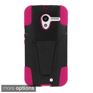 INSTEN Dual Layer Hybrid Stand Rubberized Hard Plastic PC/ Silicone Phone Case Cover For Motorola Moto X 2014 Version