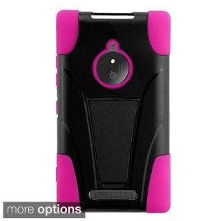 INSTEN Dual Layer Hybrid Stand Rubberized Hard Plastic PC/ Silicone Phone Case Cover For Nokia Lumia 830