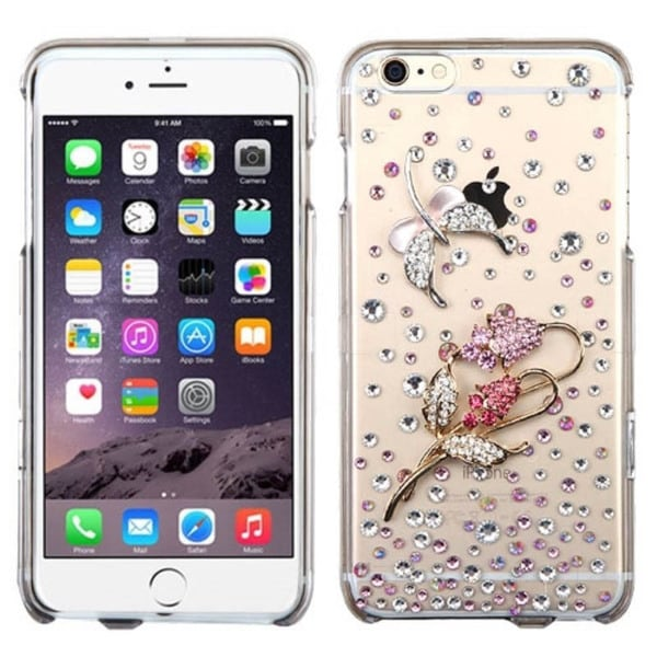INSTEN 3D Design Pattern Crystal Clear Hard Plastic Snap-on Phone Case Cover With Diamond For Apple iPhone 6+/ 6 Plus