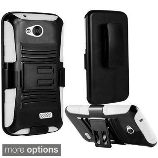 INSTEN Dual Layer Hybrid Rubberized Hard PC/ Silicone Holster Phone Case Cover For LG Tribute LS660 / MS395 / Transpyre VS810PP