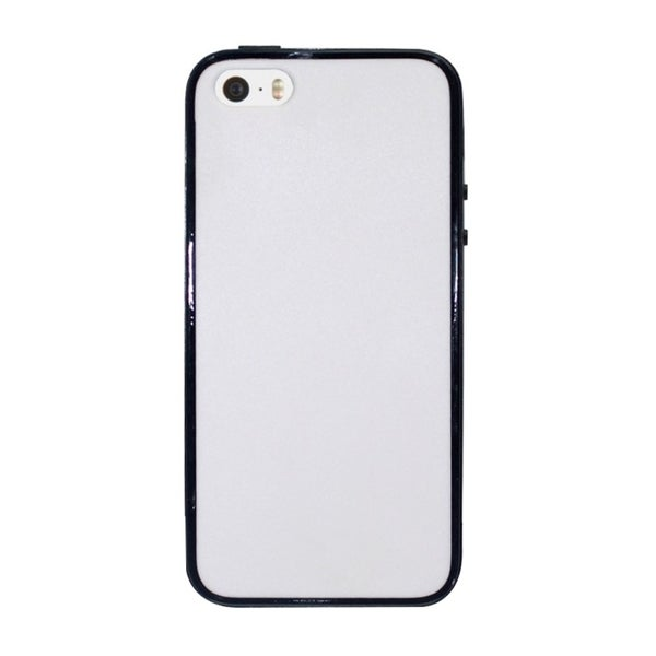 INSTEN White/ Black Plain Hard PC TPU Rubber Bumper Phone Case Cover For Apple iPhone 5/ 5S
