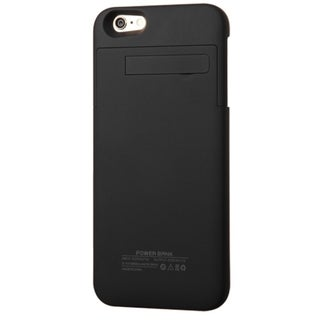 INSTEN Black 4800 mAh Rubberized Quantum Energy Battery Phone Case Cover With Stand For Apple iPhone 6+/ 6 Plus