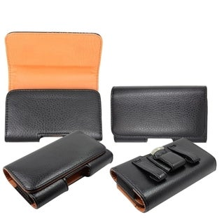 MYBAT Premium Black/ Orange Large Vertical Pouch Wallet With Belt Loops For Apple iPhone 3/ 4/ 4G