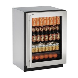 U-Line 2000 Series 2224- 24 Inch Stainless Steel Framed Glass Door Refrigerator w/ Lock