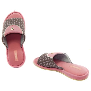 Vecceli Women's Pink and Brown Cushioned Slippers