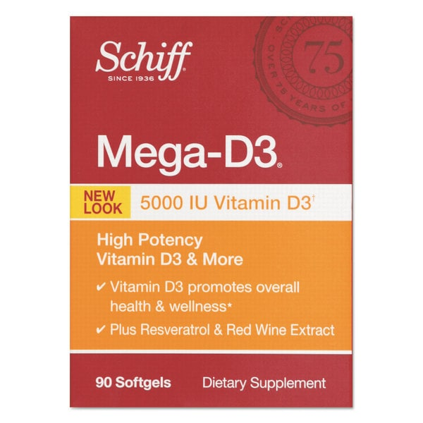 Schiff Mega Vitamin D3 Softgel 90 Count