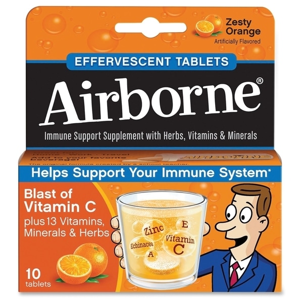 Airborne Immune Support Effervescent Tablet Orange 10 Count
