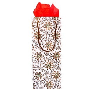 Set of 2 Hand-crafted Chamomile Cotton Wine Gift Bags (India)