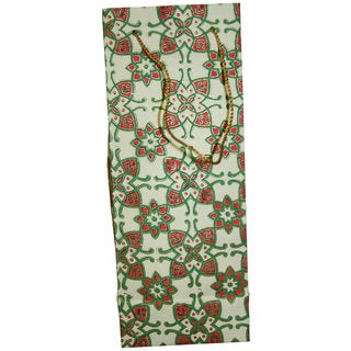 Set of 2 Hand-crafted Elements Recycled Cotton Wine Gift Bags (India)