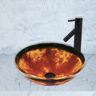 VIGO Auburn/Mocha Fusion Glass Vessel Sink and Dior Faucet Set in Antique Rubbed Bronze Finish