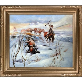 Charles Marion Russell 'Christmas Dinner for the Men on the Trail' Hand Painted Framed Canvas Art