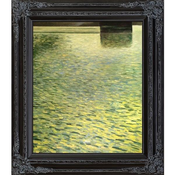 Gustav Klimt 'Island In lake Atter, Around 1901' Hand Painted Framed Canvas Art