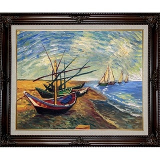 Vincent Van Gogh 'Boats At St. Marie's' Hand Painted Framed Canvas Art