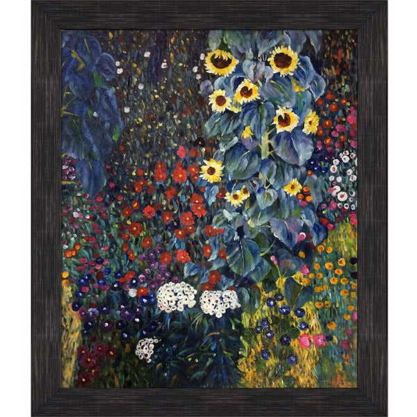 Gustav Klimt 'Farm Garden With Sunflowers' Hand Painted Framed Canvas Art