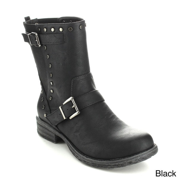 C-Label Women's 'Romo-2' Studded Mid-calf Riding Boots