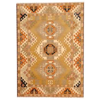 Herat Oriental Indo Hand-knotted Tribal Kazak Beige/ Green Wool Rug (5'9 x 7'11)