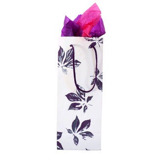 Set of 2 Hand-crafted Purple Maple Recycled Cotton Wine Gift Bags (India)