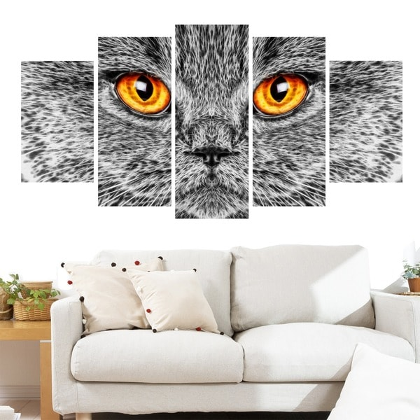 Grey Cat Animal Art Canvas (Multiple Sizes)