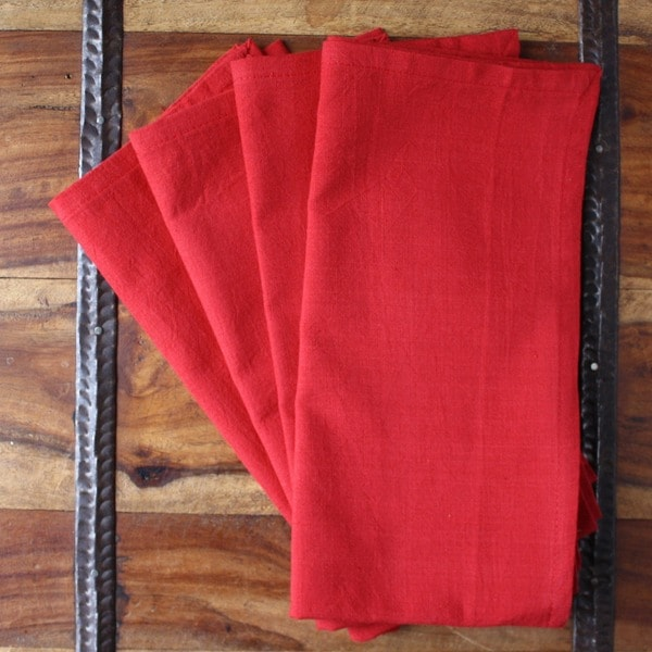 Set of 4 Hand-woven Red Cotton Napkins (India)