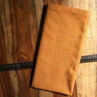 Set of 2 Hand-woven Gold Cotton Napkins (India)