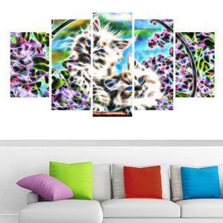 Kittens in a Basket Animal Art Canvas (Multiple Sizes)