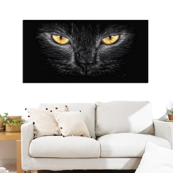 Design Art 'Black Cat Eyes' Animal Canvas Art