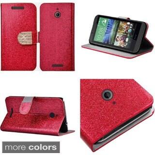 INSTEN Premium Stand Folio Flip Glitter Leather Phone Case Cover With Diamond For HTC Desire 510