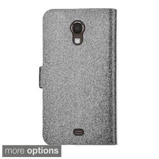 INSTEN Stand Folio Flip Glitter Leather Phone Case Cover With Diamond For Samsung Galaxy Light SGH-T399