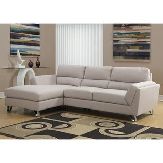 Small Space Linen Fabric Sectional Sofa with Reversible Chaise Overstock