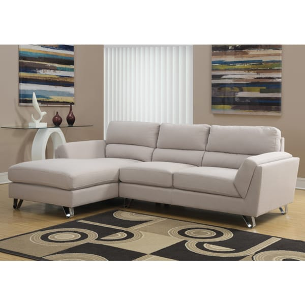 Sand Linen Sofa Lounger - 16862231 - Overstock.com Shopping - Big Discounts on Sectional Sofas