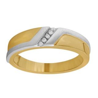 Bridal Symphony 10k Two-tone Men's Diamond Accent Wedding Band (I-J, I1-I2)
