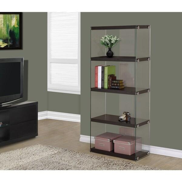 cappuccino hollow-core tempered glass bookcase