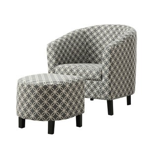 Grey Circular Fabric Accent Chair and Ottoman