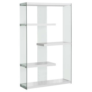 Glossy White Hollow-core Tempered Glass Floating Shelf Bookcase