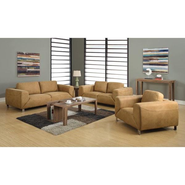 Tan/ Chocolate Brown Contrast Micro-suede Love Seat