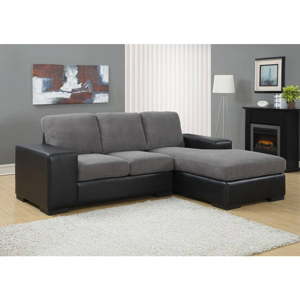 Charcoal Grey Corduroy and Black Leatherette Sofa Lounger
